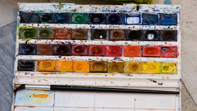 Akwareli farby pudełko Obraz Stock