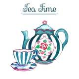 Akwareli filiżanka i teapot Obrazy Royalty Free