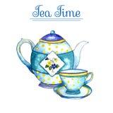 Akwareli filiżanka i teapot Zdjęcia Royalty Free