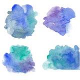 Akwareli fiołkowy pluśnięcie, purpura bryzga, akwarela, gwałtowni pluśnięcia, błękitnej zieleni purpury bryzga ilustracja wektor