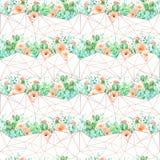 Akwareli geometryczny bezszwowy deseniowy tło z kwiatami, sukulentami i kaktusem, Zdjęcia Royalty Free