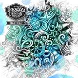 Akwareli grafika doodles nautyczna artystyczna ilustracja Obrazy Stock