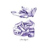Akwareli grona purpurowa krystaliczna ametystowa ręka rysująca malujący ilustrację odizolowywającą na białym tle royalty ilustracja