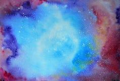 Akwareli gwiazdy i nocne niebo abstrakcjonistyczny tło zaświeca północnego wektor ilustracji