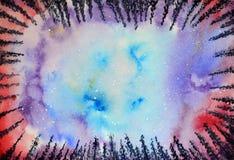 Akwareli gwiazdy i nocne niebo abstrakcjonistyczny tło zaświeca północnego wektor royalty ilustracja