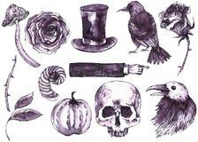 Akwareli Halloween ręka rysujący set Zdjęcia Stock