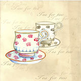 Akwareli herbaciane filiżanki ilustracji