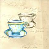 Akwareli herbaciane filiżanki royalty ilustracja