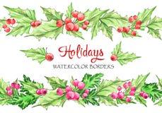 Akwareli horyzontalne girlandy Ręka malował bezszwowe kwieciste granicy z rowan i gałąź Boże Narodzenia nowy rok, może ilustracja wektor