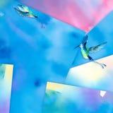 Akwareli hummingbird słonecznikowy tło Obrazy Stock