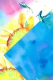 Akwareli hummingbird słonecznikowy tło Obraz Stock