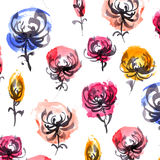 Akwareli i atramentu kwiatów wzór Fotografia Royalty Free