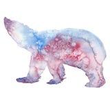 Akwareli ilustracja białego niedźwiedzia sylwetka Obrazy Stock