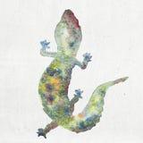 Akwareli ilustracja gekon sylwetka Obrazy Royalty Free