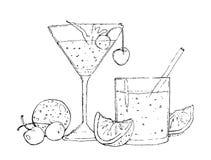 Akwareli ilustracja koktajle i owoc royalty ilustracja