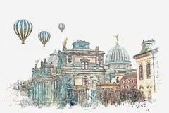 Akwareli ilustracja lub nakreślenie Pałac Albertinum, galeria nowi mistrzowie lub galeria sztuki w Drezdeńskim wewnątrz zdjęcia royalty free