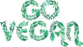 Akwareli ilustracja nowożytny motywacyjny Iść weganinu moto odizolowywający na białym tle ilustracji