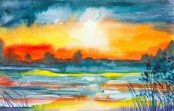 Akwareli ilustracja piękny lata pola i lasu krajobraz royalty ilustracja