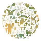 Akwareli ilustracja, set z wizerunkiem liście, gałąź, jagody, kwiaty Obraz Royalty Free