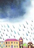 Akwareli ilustracja wygodny miasteczko przed deszczem royalty ilustracja