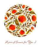 Akwareli ilustracja z pomarańcze, czerwień, kwiecisty okrąg Obrazy Royalty Free