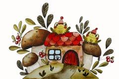 Akwareli ilustracja z zielonymi żabami ilustracja wektor