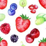 Akwareli jagodowej mieszanki tekstury bezszwowy deseniowy tło Fotografia Royalty Free
