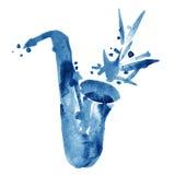 Akwareli jazzowa ilustracja błękitny klasyczny alt saksofon royalty ilustracja