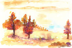 Akwareli jesieni krajobraz royalty ilustracja