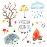 Akwareli jesieni set ilustracji