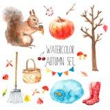 Akwareli jesieni set Obrazy Royalty Free
