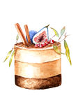 Akwareli jesieni Urodzinowego torta ilustracja Fotografia Royalty Free