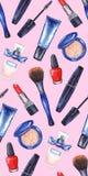 Akwareli kobiet ` s tusz do rzęs, kremowa tubka, czerwona pomadka, gwoździa połysku manicure'u kosmetyki uzupełniał bezszwowego w ilustracji