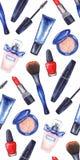 Akwareli kobiet ` s tusz do rzęs, kremowa tubka, czerwona pomadka, gwoździa połysku manicure'u kosmetyki uzupełniał bezszwowego w Zdjęcie Royalty Free