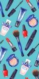 Akwareli kobiet ` s tusz do rzęs, kremowa tubka, czerwona pomadka, gwoździa połysku manicure'u kosmetyki uzupełniał bezszwowego w Obraz Royalty Free