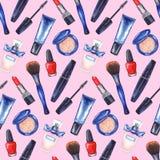 Akwareli kobiet ` s tusz do rzęs, kremowa tubka, czerwona pomadka, gwoździa połysku manicure'u kosmetyki uzupełniał ustalonego be Obraz Royalty Free