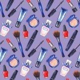 Akwareli kobiet ` s tusz do rzęs, kremowa tubka, czerwona pomadka, gwoździa połysku manicure'u kosmetyki uzupełniał ustalonego be Obrazy Royalty Free