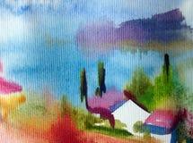Akwareli kolorowy jaskrawy textured abstrakcjonistyczny tło handmade Śródziemnomorski krajobraz Obraz denny wybrzeże royalty ilustracja