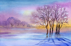 Akwareli Krajobrazowa kolekcja: Zima krajobraz Obrazy Stock