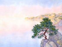 Akwareli krajobrazowy tło nad falezy Crimea sosny morze Zdjęcia Royalty Free