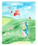 Akwareli kreskówki mysz Fotografia Stock