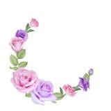 Akwareli kwiecista karta z różami i lisianthus Zdjęcia Stock