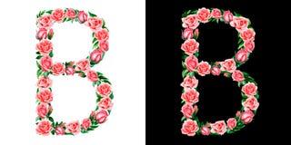 Akwareli kwiecisty abecadło róże, monogram, tytułowego listu b odizolowywający na czarny i biały tle zdjęcia stock