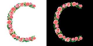 Akwareli kwiecisty abecadło róże, monogram, tytułowy list C odizolowywający na czarny i biały tle obrazy stock