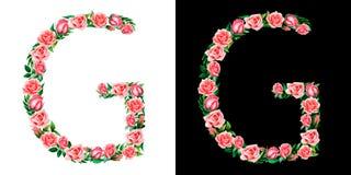 Akwareli kwiecisty abecadło róże, monogram, tytułowy list G odizolowywający na czarny i biały tle obraz royalty free