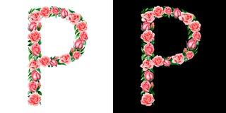 Akwareli kwiecisty abecadło róże, monogram, tytułowy list P odizolowywający na czarny i biały tle zdjęcia stock