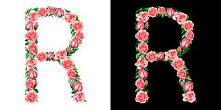 Akwareli kwiecisty abecadło róże, monogram, tytułowy list R odizolowywający na czarny i biały tle fotografia royalty free