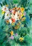 Akwareli kwiecisty tło Wiązki lata kolorowi kwiaty Zdjęcie Stock