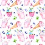 Akwareli lata cukierki deserów bezszwowy wzór Różowy tło z lody w rożku, dojnym berrie smoothie i babeczkach, royalty ilustracja