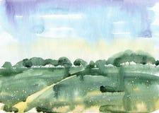Akwareli lata krajobraz Zdjęcie Royalty Free